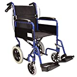 FAST FREE DELIVERY Lightweight aluminium folding transit travel wheelchair with handbrakes - Weighs