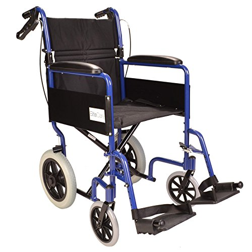 Lightweight aluminium folding transit travel wheelchair with handbrakes - Weighs only 11kg ECTR01