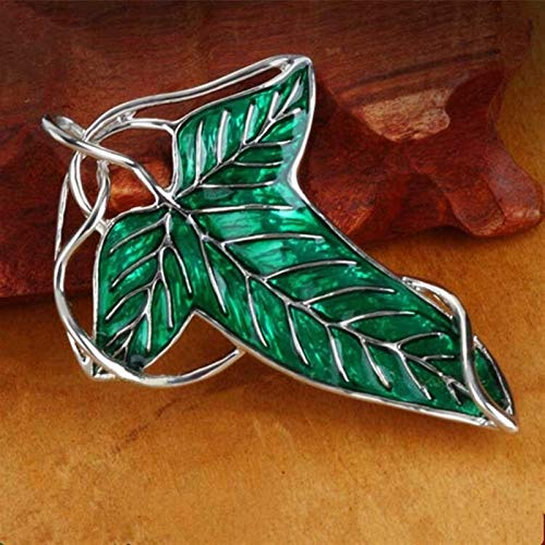 Brooch Elf Princess Brooches Elven Green Leaf Brooch Cosplay Jewelry Gift Dual use Pendant Brooch accessories,Brooch (Metal color : Green, Size : Normal)