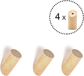 ANZOME Wooden Coat Hook, 4 Pieces Wood Wall Hook, Wooden Coat Peg Coat Hanger for Hanging Clothes, Hat, Scarves and Headphone in Bedroom, Living room, Hallway (Short Type in Wood Color)