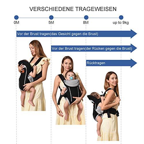 Bable Mochila Portabebés, Portabebés Ergonómico 3 en 1 para bebé hasta 9kg, Mochila Portabebé Ergonómica cómoda y suave para todas las estaciones