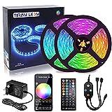 15m Tira LED Bluetooth, 16 Millones Colores 64 Modos Escena, Sync Música Luces LED RGB Control de App para Habitación, Cocina,...