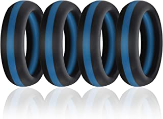 Silicone Wedding Band Ring,Flexible Comfortable Rubber Thin Blue Line Ring for Women Men,4 Pcs