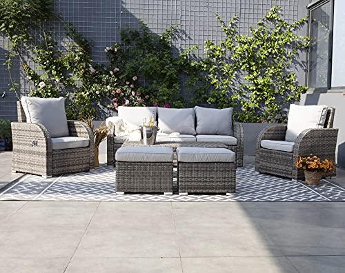 WeCooper 6PC Outdoor Rattan Furniture Set, Patio Wicker 7 Seats Sofa Set, Conservatory Garden Sofa,...