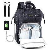 Baby Wickelrucksack Wickeltasche Multifunktional mit USB-Lade Port Oxford Wasserdichte Große Kapazität Babytasche für Reise,Welle Blau