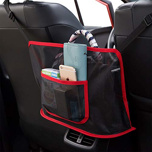 Car Storage Net Pocket , Driver Storage Netting Pouch, Large Capacity Seat Back Organizer Mesh Bag, Barrier of Backseat Pet Kids, Handbag Purses Holder Between the Two Front Seats of The Car(Red)