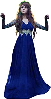 SuperXC Medieval Renaissance Fairytale Vampire Brocade Dress Masquerade Gown Theater Cosplay Halloween Costume
