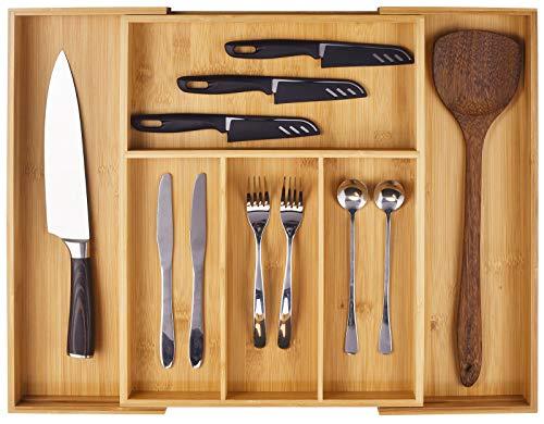 Bamboo Cutlery Organiser, Expandable Silverware Drawer Organiser and...