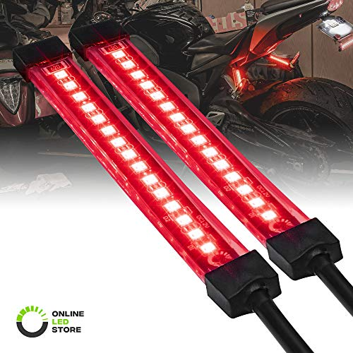 2pc 5' Red LED Motorcycle Turn Signal & Brake Tail Light Strip Kit [IP68 Waterproof] [Single Row] [50% Running Light] [100% Brake/Turn Signals] Flexible Tail Light Strip for Motorcycle Trailer ATV