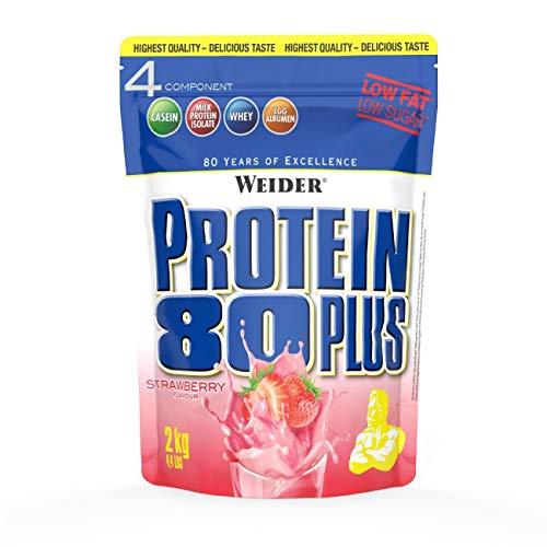 Weider Protein 80 Plus Eiweißpulver, Erdbeer, Low-Carb, Mehrkomponenten Casein Whey Mix für Proteinshakes, 2kg