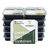 FITPREP® Original 3 Fach Meal Prep Container 10er Pack Kompakt, platzsparend und dennoch 1 Liter Volumen inkl. Rezeptheft, Zertifiziert BPA...