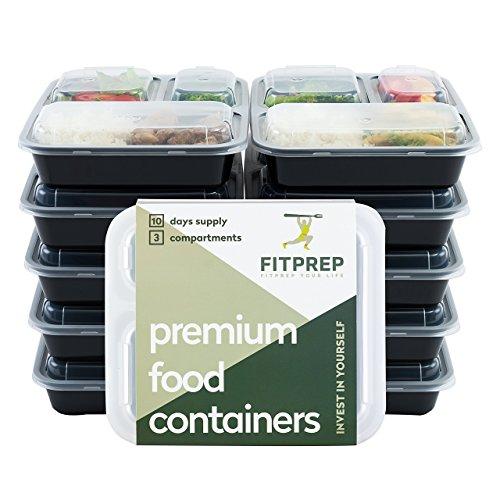 FITPREP® Original 3 Fach Meal Prep Container 10er Pack Kompakt, platzsparend und dennoch 1 Liter Volumen inkl. Rezeptheft, Zertifiziert BPA frei