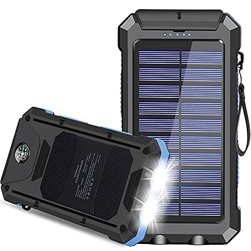 Solar Charger, 30000mAh USB C Portable Solar Power Bank with Dual USB/LED Flashlights, Waterproof External Backup Battery Pack Charger for Cellphone, Tablets and Electronic Device