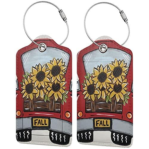 Etiquetas de equipaje de flores de granja vintage, microfibra de cuero personalizado maleta Tag Set etiquetas de identificación de equipaje Accesorios de viaje 2 piezas