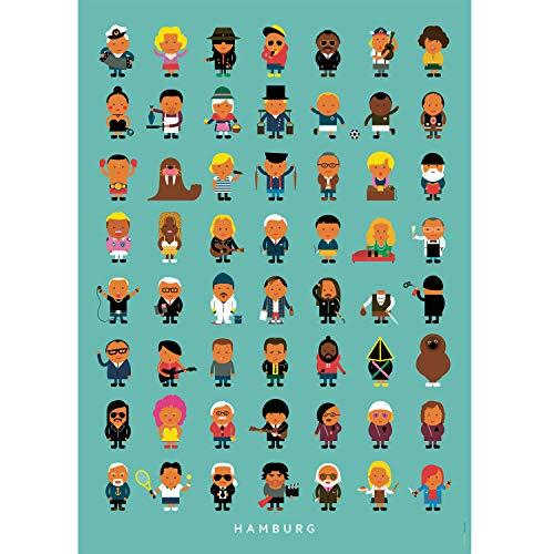 Kunstdruck Poster | Hamburger Leude | A3 und 50 x 70 cm (ungerahmt) | Illustration, Hamburg, bunt, Prominente, XXL