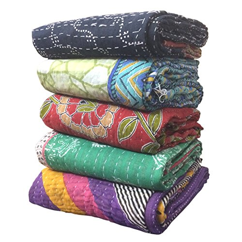 Maniona 5 Pieces Mix Lot of Indian Tribal Kantha Quilts Vintage Cotton Bed Cover Throw Old Assorted Patches Made Rally
