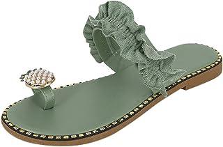 BIBOKAOKE Casual damessandalen, zomer, sandalen, vrije tijd, teenslippers, sandalen, Macramé, boho, sierparels, peep toe s...