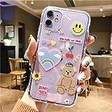 LUSAMYE iPhone 11 Cute Cartoon Bear Case,Clear Soft TPU Cover for Girly Women Aesthetic Kawaii Korean iPhone 11 Phone case -Rainbow Bear