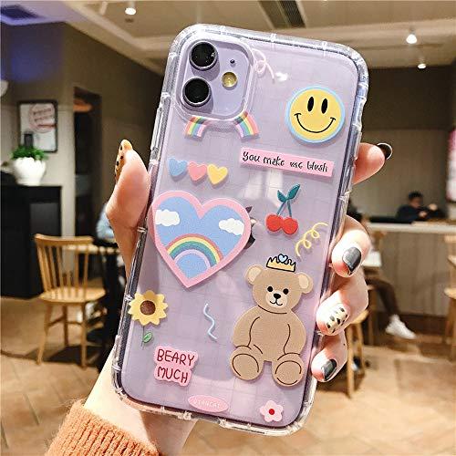 LUSAMYE iPhone 11 Cute Cartoon Bear Case,Clear Soft TPU Cover for Girly Women Phone case -Rainbow Bear