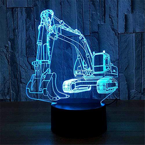 Jawell 3D ilusión excavadora luz nocturna, Smart Touch 16 colores cambiar lámpara LED regalo cumpleaños