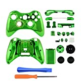 Gotor Green Chrome Plating Repair Parts Full Housing Shell Case Accessories + Tools for XBOX 360 Wireless Controller