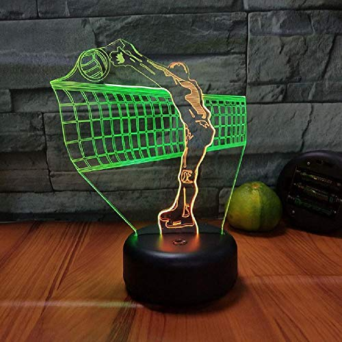 Jugar Voleibol Modelado 3D Led LáMpara De Mesa USB 7 Colores Cambio De Luz Nocturna DecoracióN Del Dormitorio Accesorios De IluminacióN Ventiladores De Voleibol Regalos