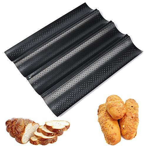 Gurxi Baguette-backblech Baguetteform Baguetteblech French Bread Backblech mit Antihaftbeschichtung Baguette Baguetteblech Französisch Brot Backblech Baguette Backblech Kann 4 Brote Halten