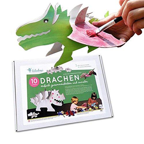 Drachen 10ner Set aus Pappe zum Zusammenstecken