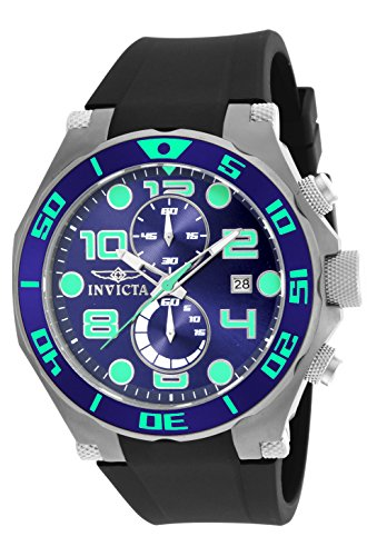 Invicta Men's Pro Diver 50mm Stainless Steel Chronograph Quartz Watch with Black Polyurethane Band, Black (Model: 17813)