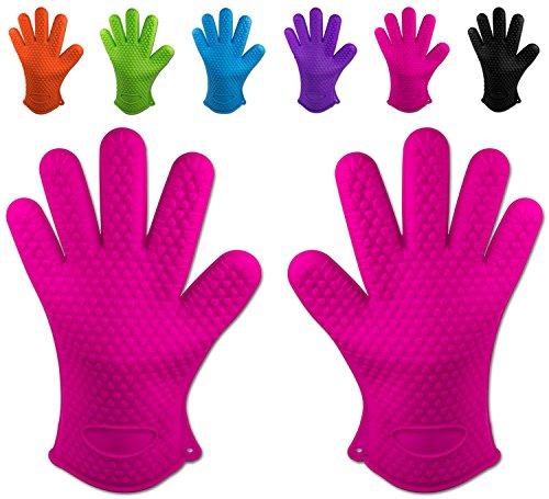 Belmalia 2 Backhandschuhe, Silikon, NEU: noch hitzebeständiger, Grillhandschuhe, Topflappen, Ofenhandschuhe Pink Rosa