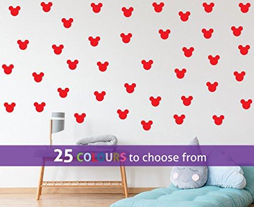 TopZog Set, pak van 40 MICKEY MOUSE oren muur kunst sticker decal, voor baby jongens, meisjes kinderdagverblijf, kinderen slaapkamer, laptop, rood, 1,5 inch breed (3,8 cm) elk