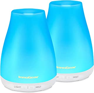 InnoGear 2 Pack 150ml Essential Oil Diffuser Aromatherapy Aroma Diffusers Ultrasonic Cool Mist Humidifier with 7 Colors LED Lights and Waterless Auto Shut-off for Home Office Bedroom Room, White