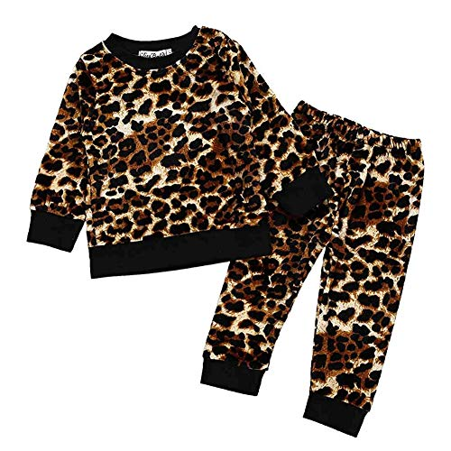 Toddler Baby Girls Leopard Velvet Sweatshirt Tops Pant 6Pcs Set Fashion Fall Winter Outfits(Leopard, 120 (4-5T))