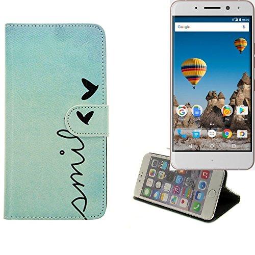 K-S-Trade Schutzhülle Für General Mobile GM 5 Plus Hülle Wallet Case Flip Cover Tasche Bookstyle Etui Handyhülle ''Smile'' Türkis Standfunktion Kameraschutz (1Stk)