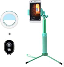 Selfie Stick Tripod 44 Inch with Ring Light Remote Bluetooth for Live Stream and Makeup Compatible for iPhone X/SE/6/6s/6 Plus/7/7 Plus/8/8 Plus/,Samsung 8/S8/S8 Plus,Nexus,LG,Moto(Mint Green)