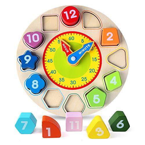 BelleStyle Lernuhr Holz, Holzspielzeug Lernuhr Anzahl Blöcke Puzzle Montessori Spielzeug mit 12 verschiedenen Steck-Formen aus Holz Zahlen für Jungen und Mädchen Kleinkind Baby Kinder 1 2 3 4 Jahre