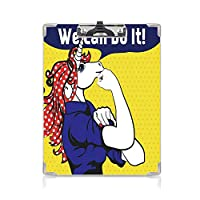クリップボード ユニコーン ミニバインダー 水玉に有名なジェスチャーを施したフェミニストのユニコーン 用箋挟 クロス貼 A4 短辺とじ強さのユーモアイメージアートワーク マルチ