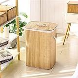 Cesta De Ropa Sucia Almacenamiento Plegable Cesta De Lavadero Organizador Mano Tejida De Gran Capacidad Cubierta De Bambú De Bambú Portátil para Ba?o