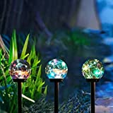 Solar Lights Outdoor,3 Pack Solar Globe Lights Waterproof Decorative Solar Landscape Path Light for Yard,Patio,Walkway-Color Changing(5.12 Inches)