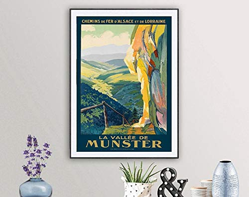 La Vallee De Münster, France Vintage Travel Poster - Poster Paper, Sticker Or Print / Gift Idea / Wall Decor | Poster No Frame Board For Office Decor, Best Gift For Family And Your Friends 11.7*16.5