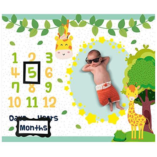 Giraffe Baby Month Milestone Blanket for Photo Taken - Baby Age Blanket for Memory Memorial | Giraffe Themed Baby Newborn Nursery Gifts