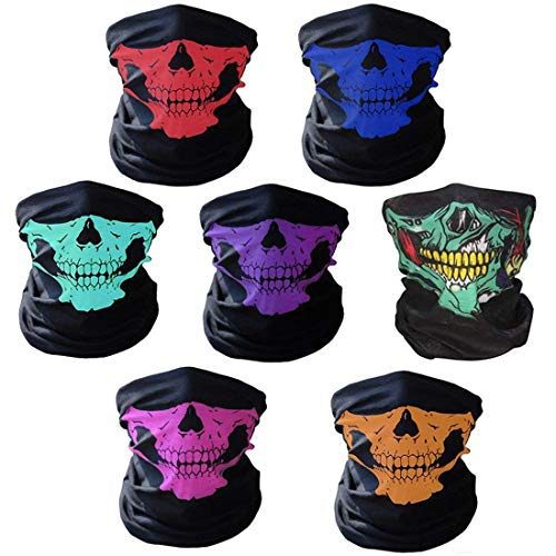 AOFOX 7 Stück Nahtlose Schädel Gesicht Rohr Maske Motorrad Gesicht Schädel Maske für Halloween Fahrrad Motorrad