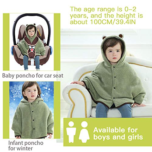 Carseat Poncho for Kids, Child Poncho with Hood, Frog Hood Cape Car Seat Coat, Coffled Carseat Coats for Toddlers, Toddler Fleece Hooded Wool Blend Capes Poncho Children Fall Winter Snowsuit Outwear