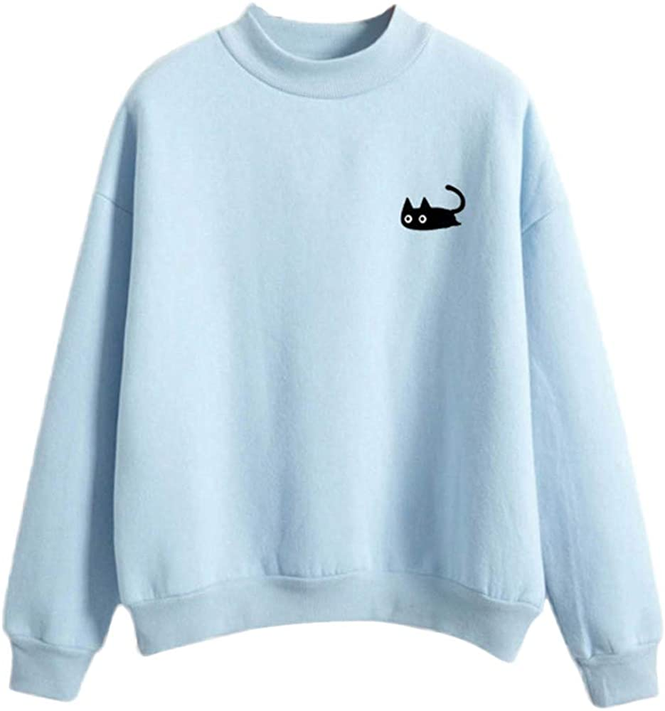 Womans Sweatshirt Pullover Kawaii Cat Print Blouse Lightweight Simple Long Sleeve O Neck Casual Tops for Teens