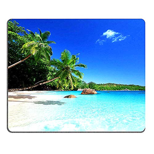 Sunshine Beach Küste Meer Palmen Mousepad Tropisches Paradies Palmen Gaming Mauspad Oblong Shaped Eco Gummi Mauspad