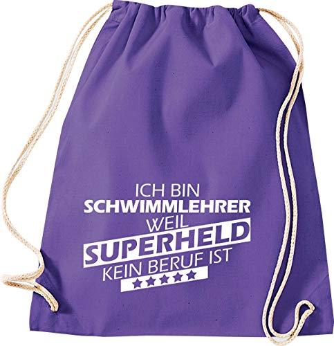 Shirtstown Turnbeutel Gymsack, Ich Bin Schwimmlehrer, Weil Superheld kein Beruf ist, Ausbildung Beruf Sprüche Spruch Logo Motiv, Tasche Sport Beutel, Farbe Purple