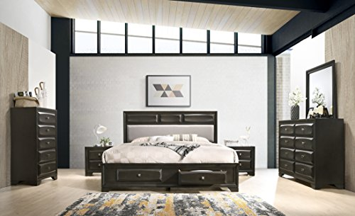 Roundhill Furniture Oakland Wood Bedroom Set with King Bed Dresser, Mirror, 2 Nightstands, Chest Antique Gray
