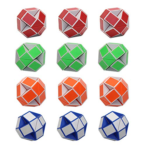 LEOP 12 Pack 24 Blocks Magic Snake Cube, Mini Plastic Puzzle Cube, Fidget Toys, Mini Snake Speed Cubes for Kids Party Bag Filler, Party Supplies (4 Colors)
