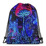 Mushrooms Trippy Drawstring backpack for Unisex Gym Bag 14 x 17 Inch/36 x 43cm