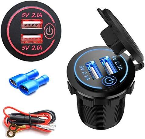 LED Moto Double Prise de Courant de Chargeur de Voiture USB 5V // 4.2A pour Voiture 12V // 24V Bateaux et Marine Akin Chargeur Double Prise de Chargeur USB pour Moto UTV